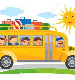 school bus school trip cartoon cartoon of yellow school bus traveling on a school trip [ 1300 x 917 Pixel ]
