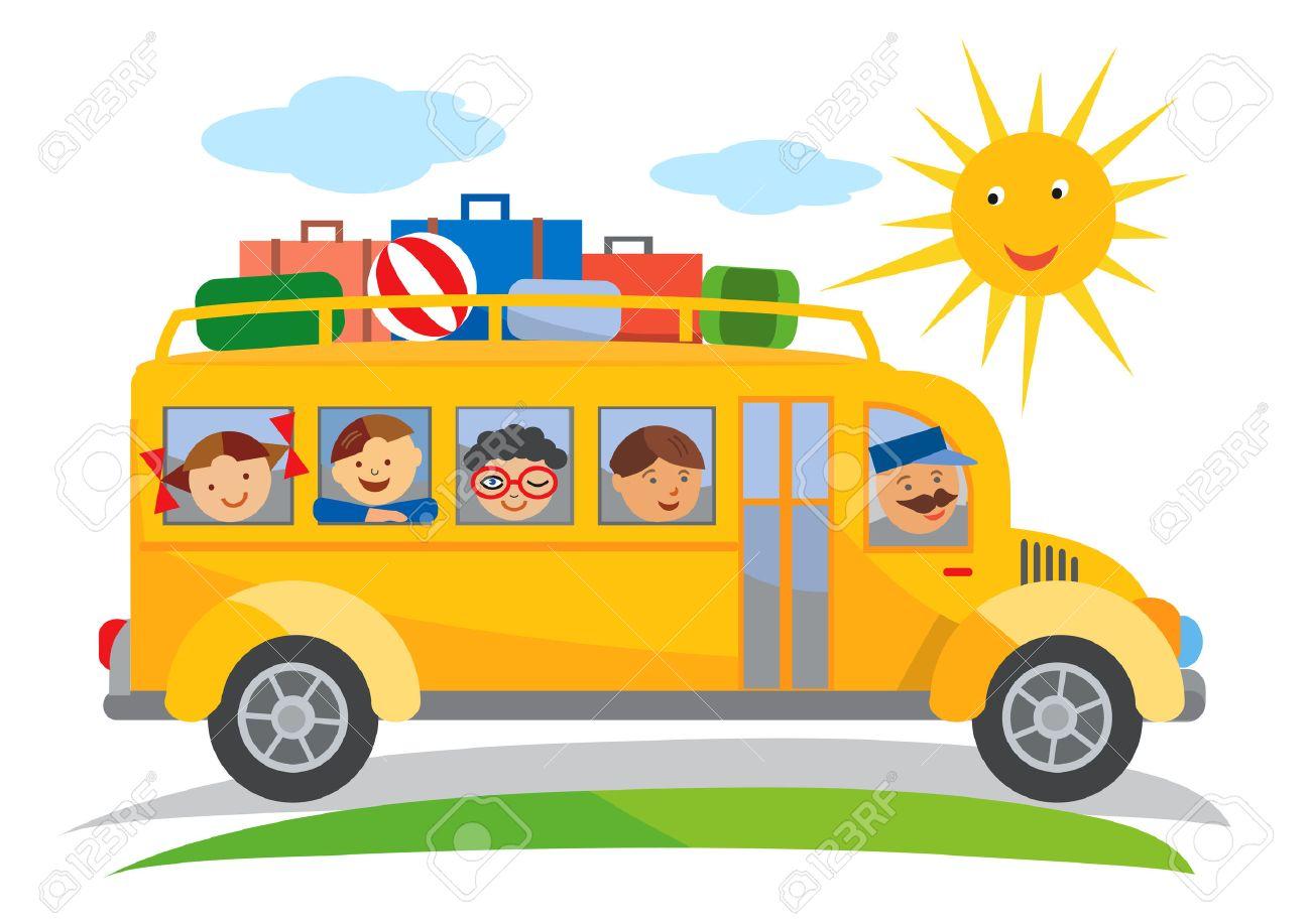 hight resolution of school bus school trip cartoon cartoon of yellow school bus traveling on a school trip