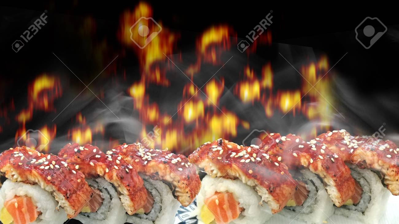 Is for those of you who would want to animate y. Mockup Sushi Meats Grills On Japan Rice In Japanese Restaurant Background Fire Grill Stock Photo Picture And Royalty Free Image Image 119381696