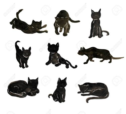small resolution of hand drawn watercolor black cats clipart design elements can be used for halloween