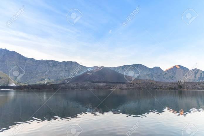Landscape Of Active Volcano Baru Jari Lake Segara Anak And Summit Stock Photo Picture And Royalty Free Image Image 85939898