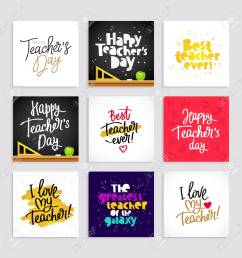 set of postcards for the teacher s day calligraphy and lettering vector illustration great [ 1300 x 1300 Pixel ]
