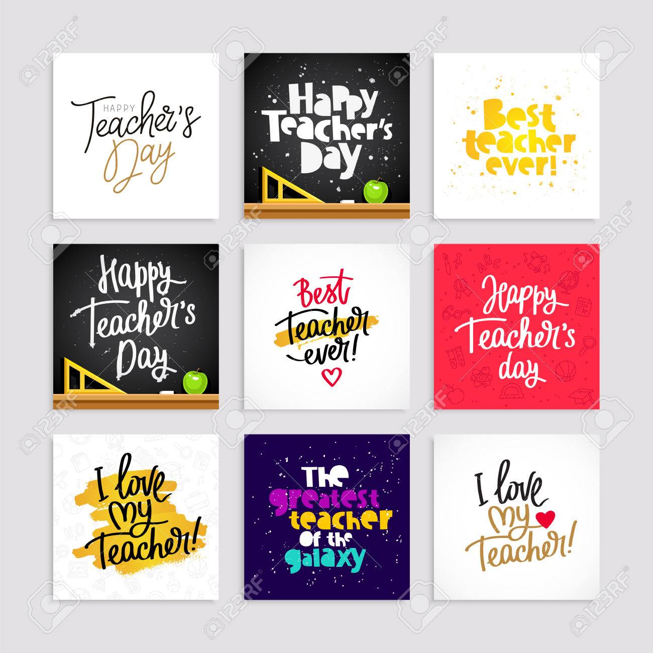 hight resolution of set of postcards for the teacher s day calligraphy and lettering vector illustration great