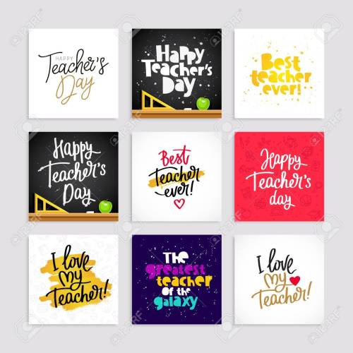 small resolution of set of postcards for the teacher s day calligraphy and lettering vector illustration great