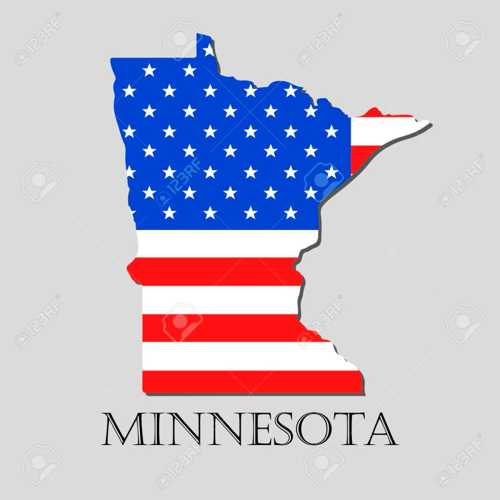 medium resolution of map of the state of minnesota and american flag illustration america flag map vector