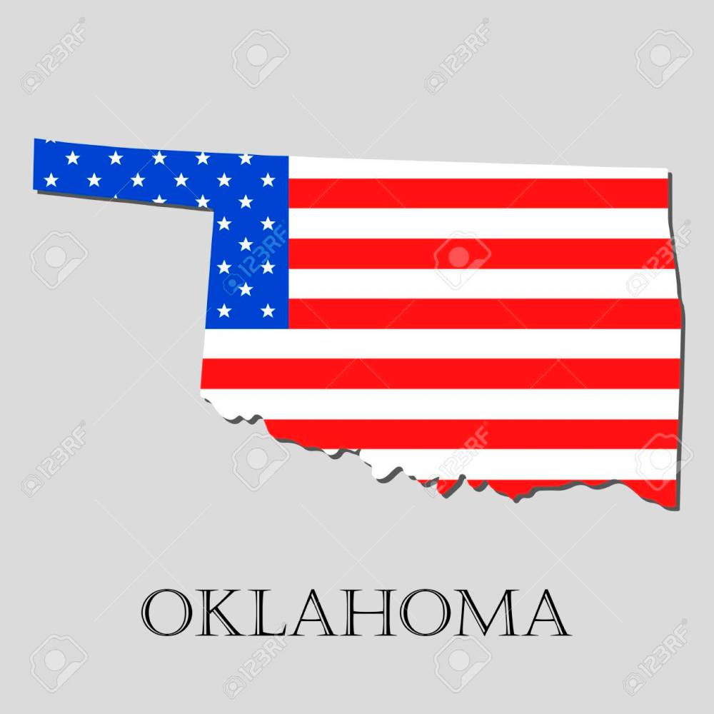 medium resolution of map of the state of oklahoma and american flag illustration america flag map vector