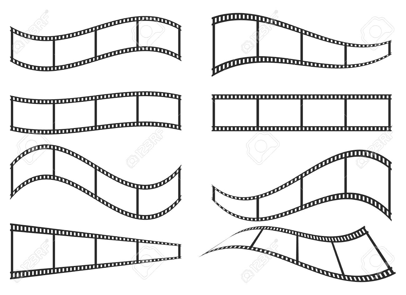 hight resolution of set of film frame icons in flat design vector illustration film strip icon