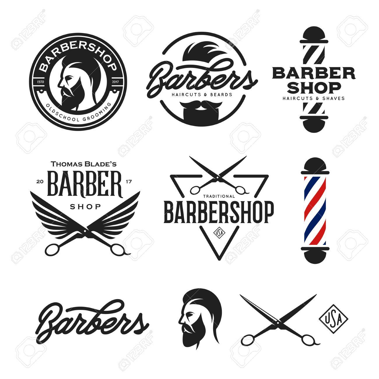 barber shop badges set