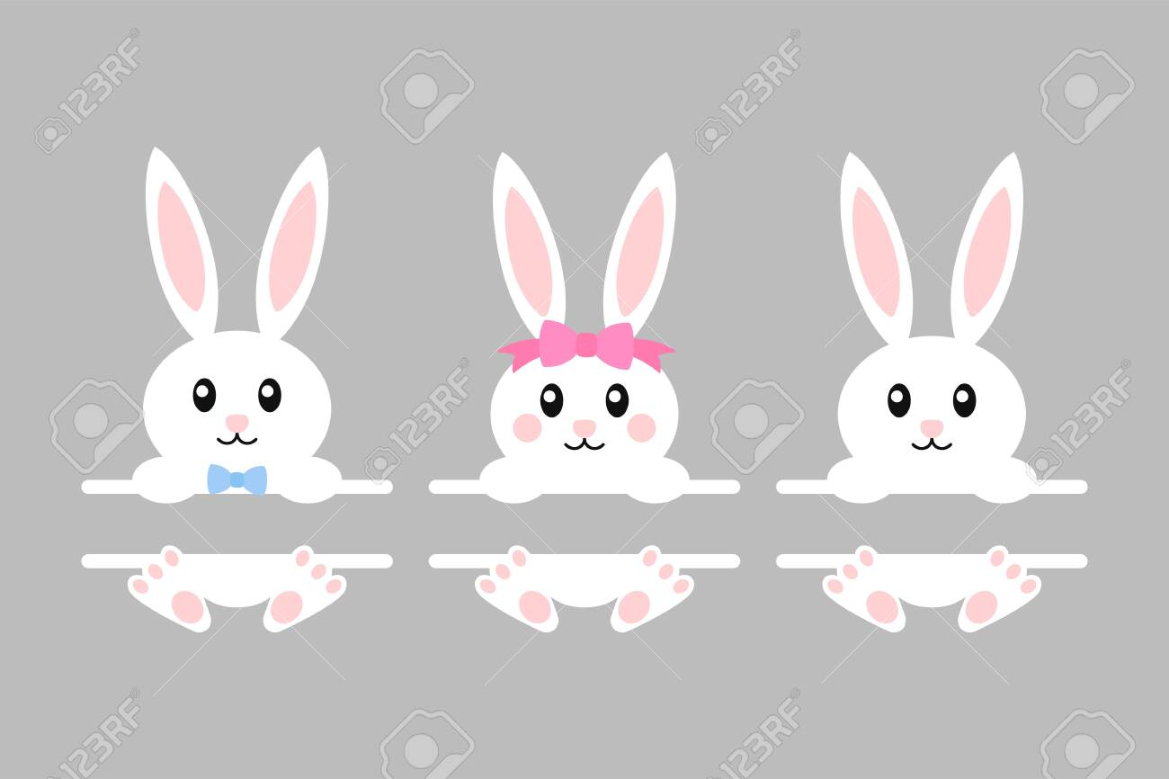 Happy Easter Bunny Vector Illustration Cute Bunny Split Monogram Royalty Free Cliparts Vectors And Stock Illustration Image 124230278