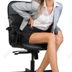 Office Chair Back Pain Design Statement Businesswoman With Lower From Sitting On Looking At Camera Isolated