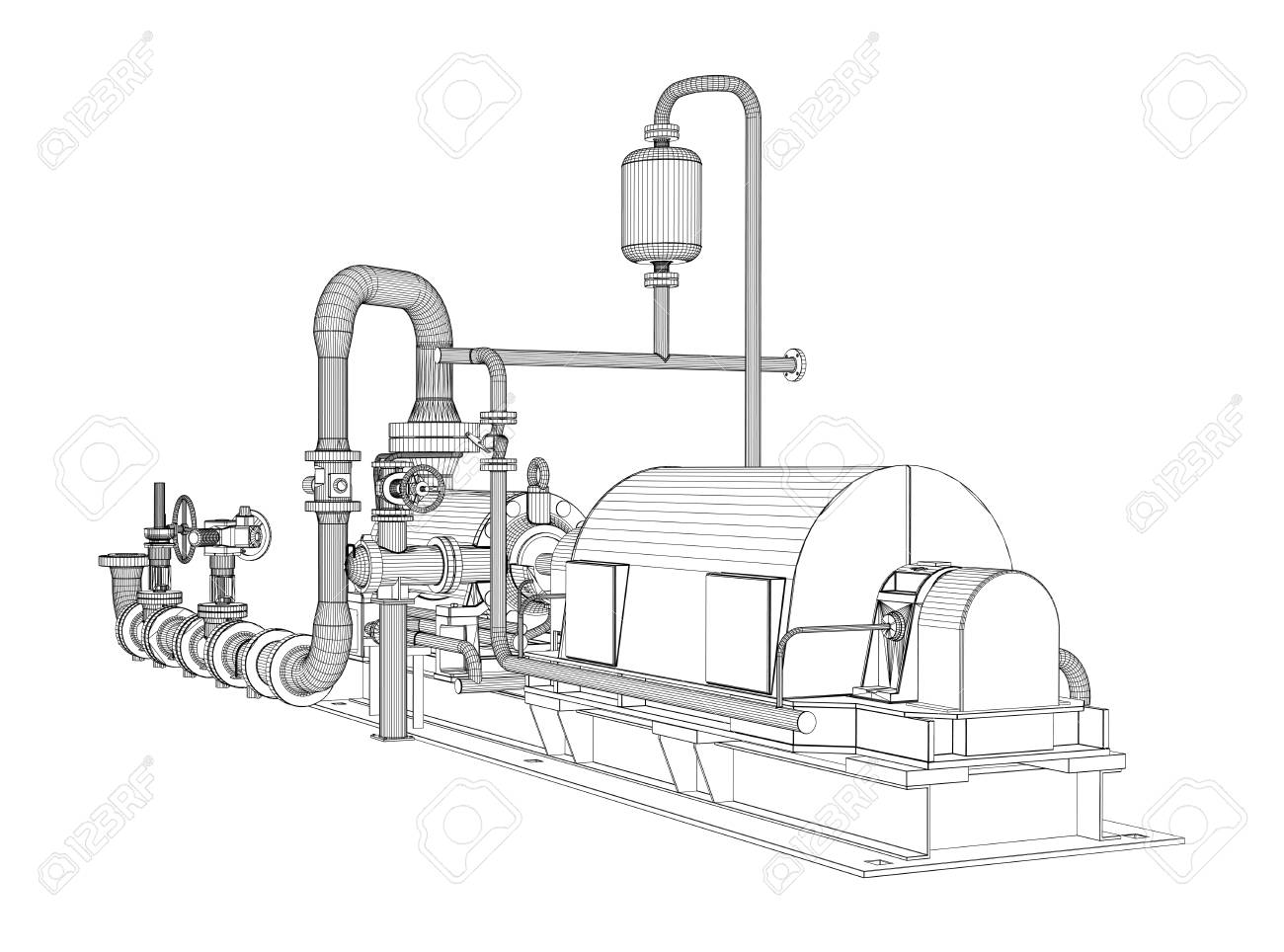 hight resolution of wire frame industrial pump 3d rendering vector illustration stock vector 87211928