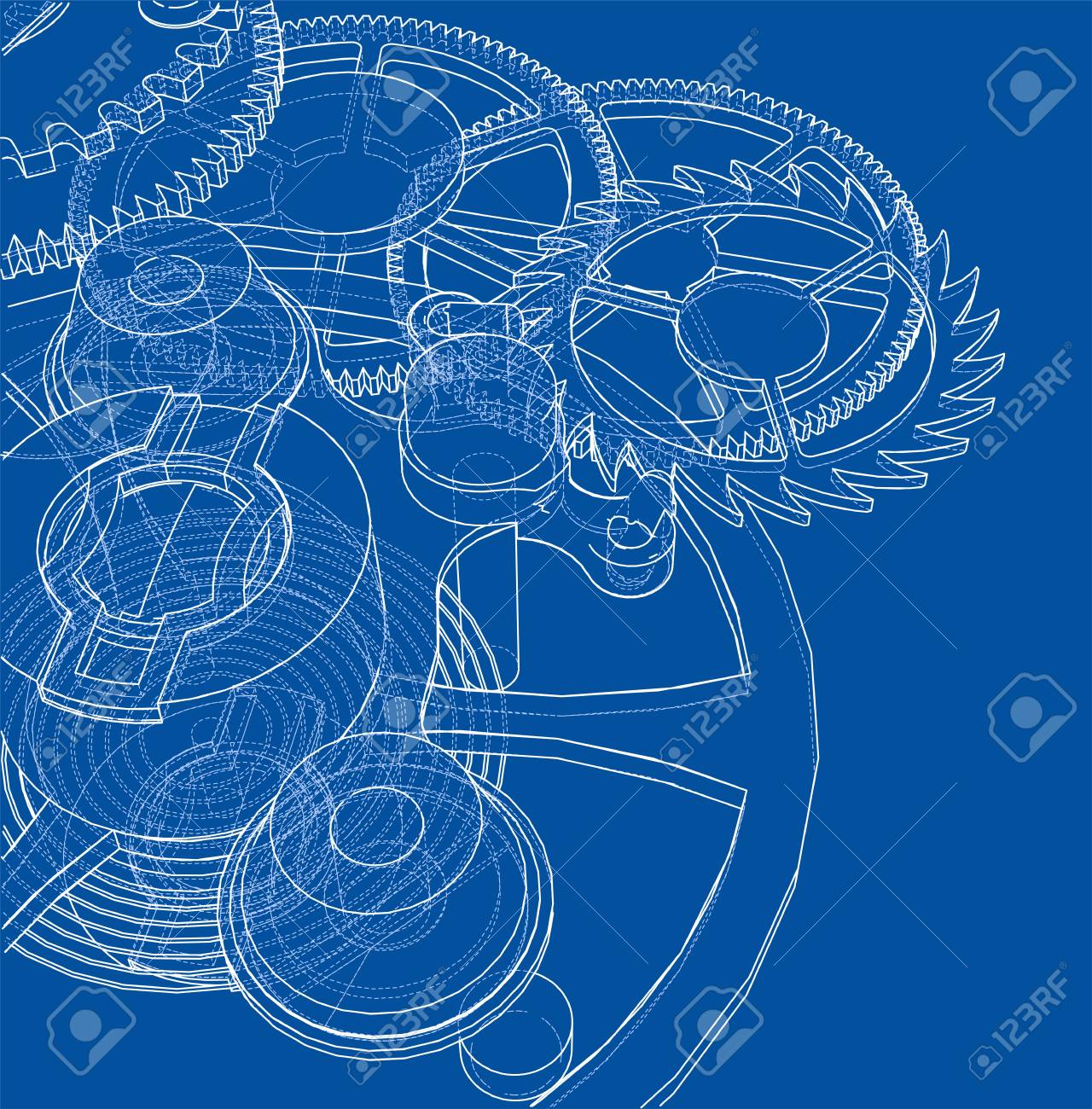 hight resolution of cogs and gears of clock wire frame style on blue background stock vector