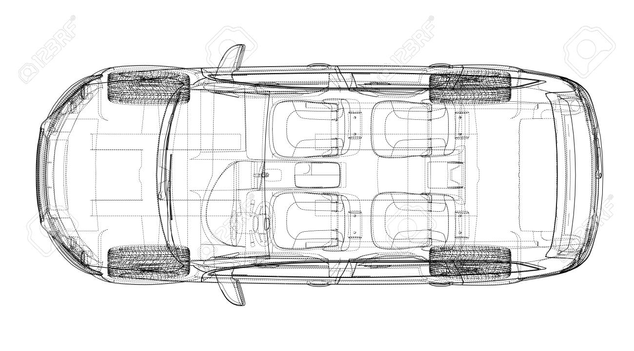 hight resolution of concept car in 3d blueprint illustration vector top view stock vector 95592827
