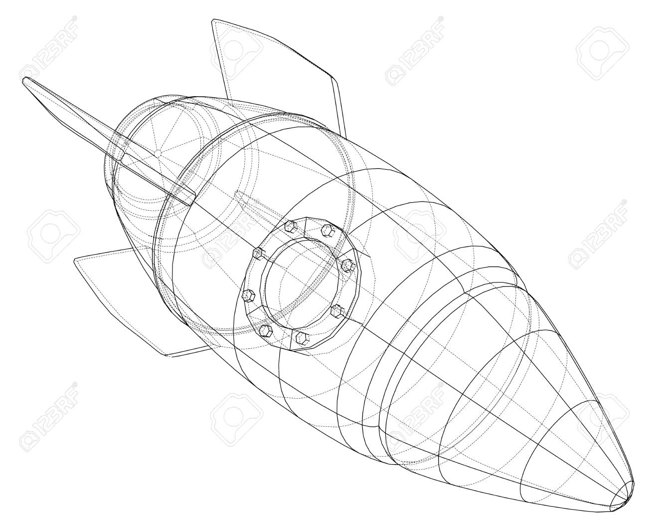 rocket ship diagram 1978 ct70 wiring 3d sketch vector royalty free cliparts vectors and stock 98100770