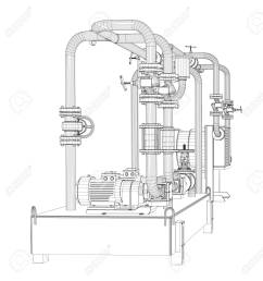stock photo wire frame industrial equipment of oil pump [ 1243 x 1300 Pixel ]