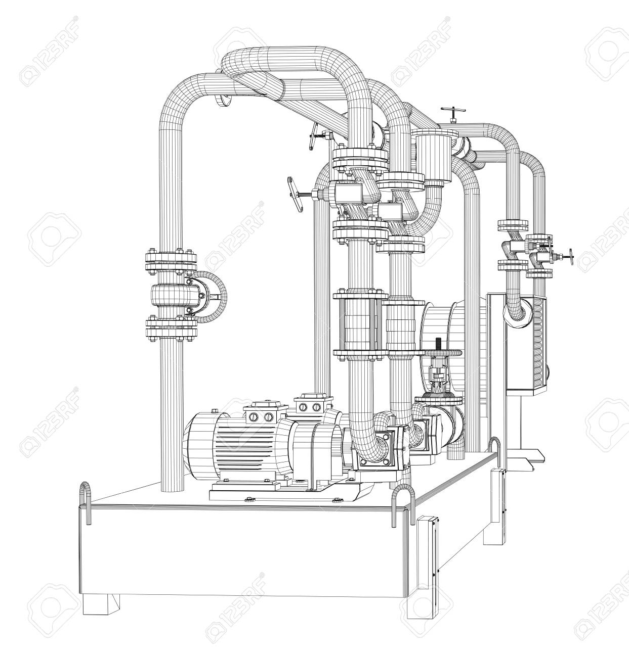 hight resolution of stock photo wire frame industrial equipment of oil pump