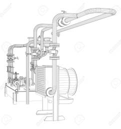 stock photo wire frame industrial equipment of oil pump [ 1300 x 1300 Pixel ]