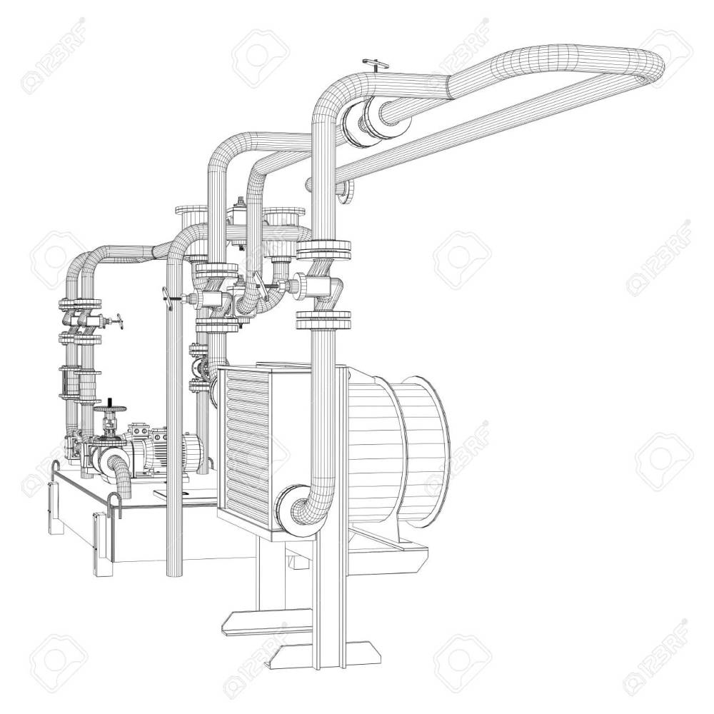 medium resolution of stock photo wire frame industrial equipment of oil pump