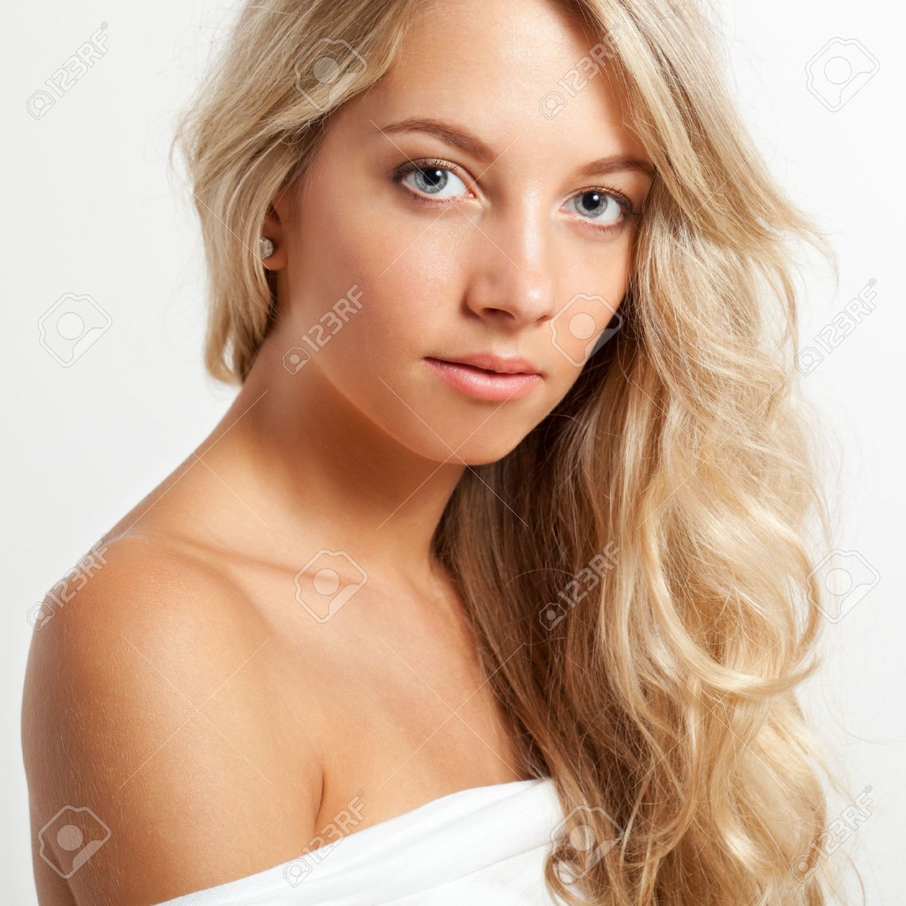 Beautiful Blonde Woman Closeup Face Portrait Square Frame Stock Photo 14525771