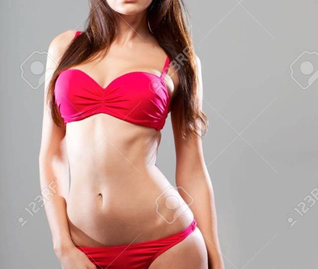 Sexy Hot Woman Wearing Pink Bikini Posing Over Gray Background Stock Photo 15689785