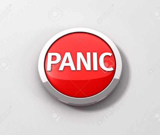A Red Reflective Panic Button With A Chrome Ring On A White Background 3d Illustration