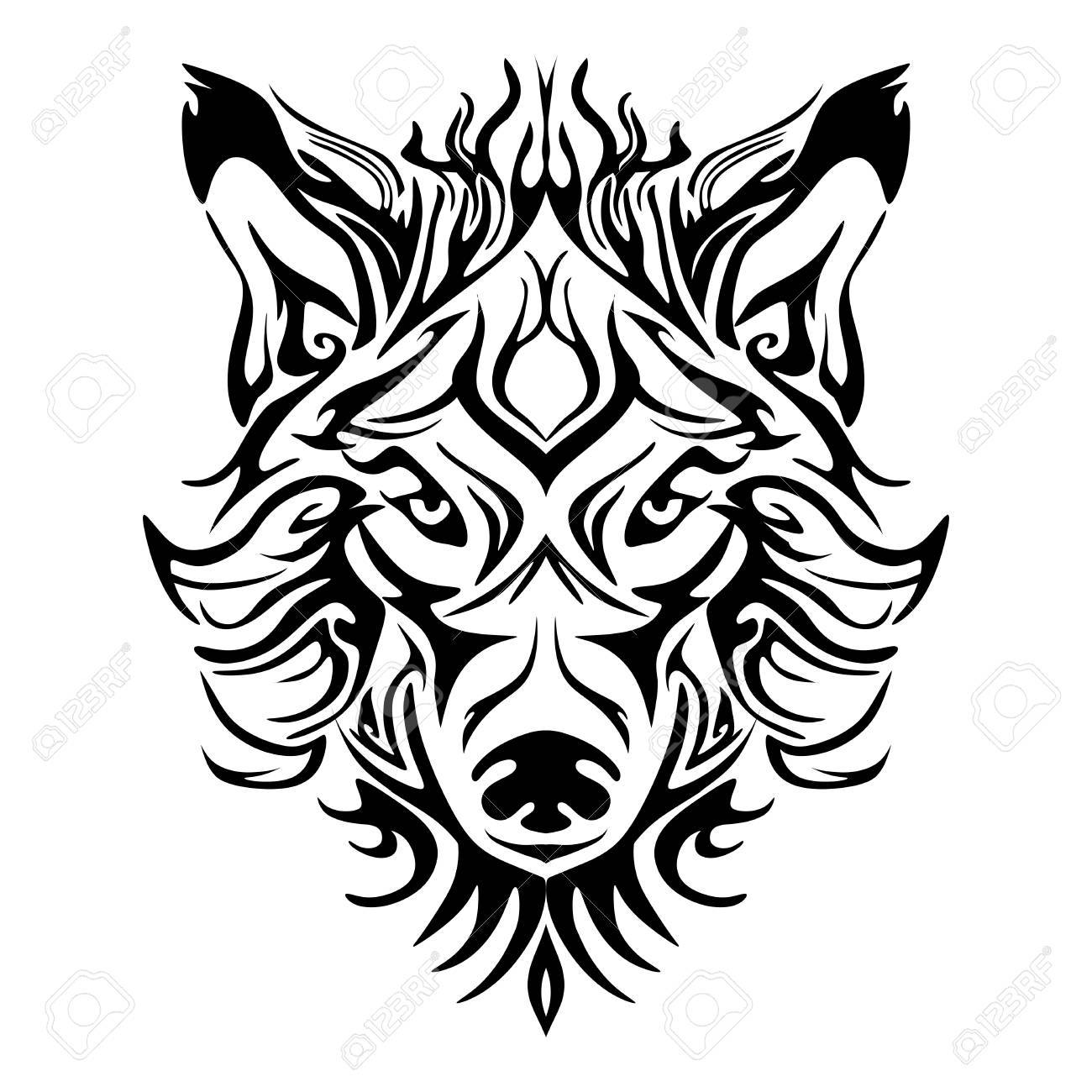 Wolf Tribal Tattoo Drawing
