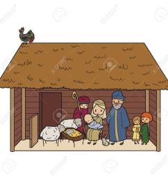 illustration of a christmas crib with virgin mary and baby jesus stock vector 66264688 [ 1300 x 1300 Pixel ]