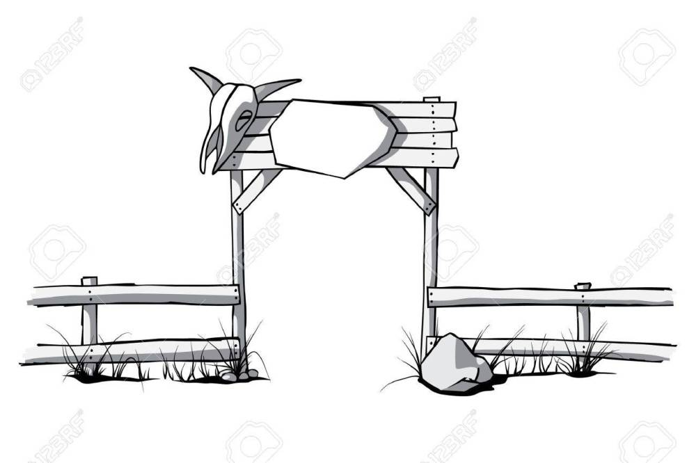 medium resolution of vector wooden fence with a cow skull on the gate