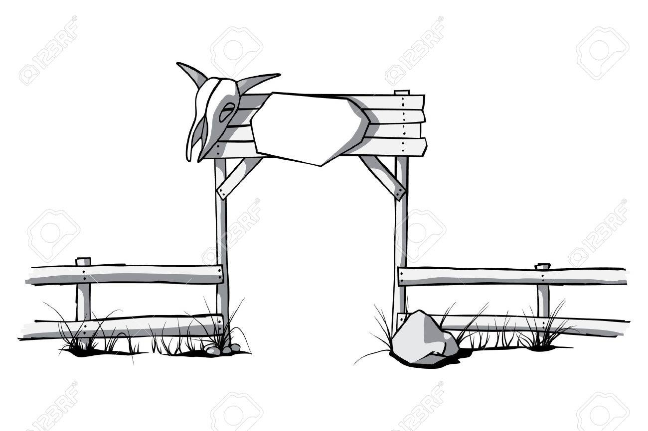 hight resolution of vector wooden fence with a cow skull on the gate