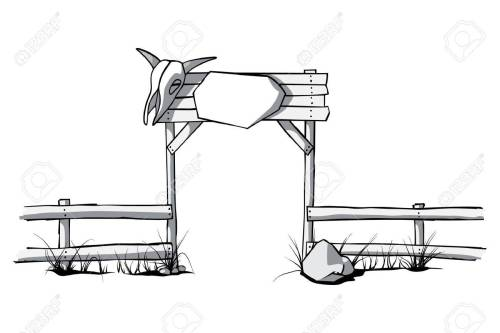 small resolution of vector wooden fence with a cow skull on the gate
