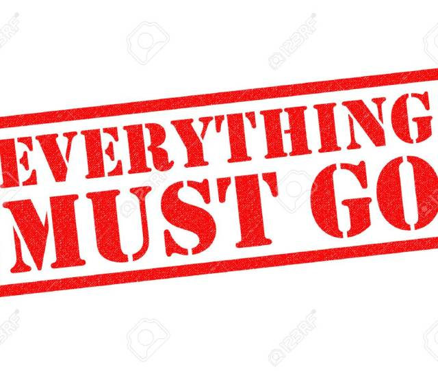 Everything Must Go Red Rubber Stamp Over A White Background Stock Photo 69699025