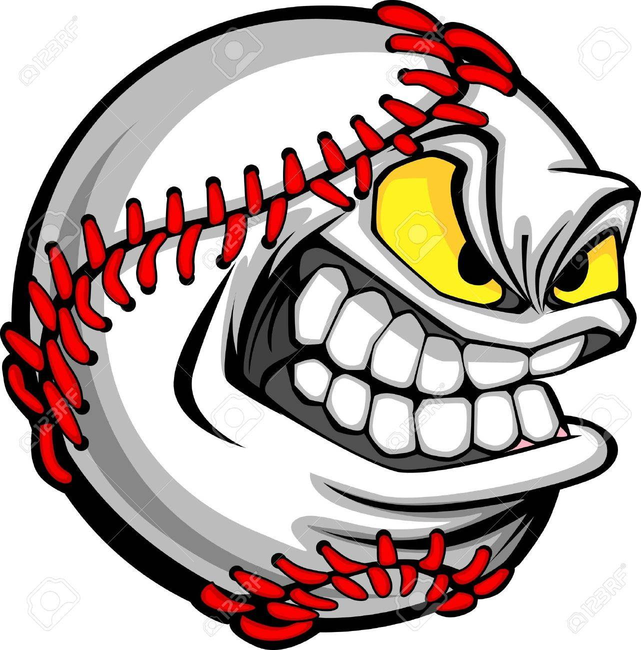 baseball face cartoon ball