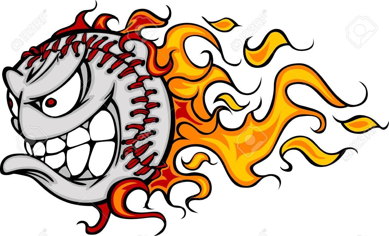 flaming baseball or softball