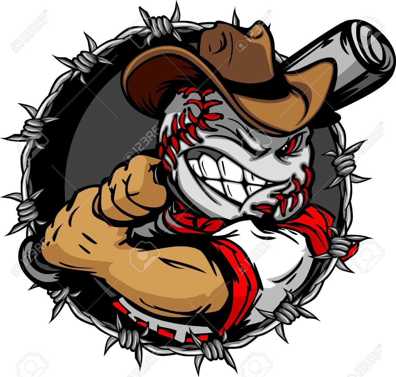 baseball face cartoon cowboy