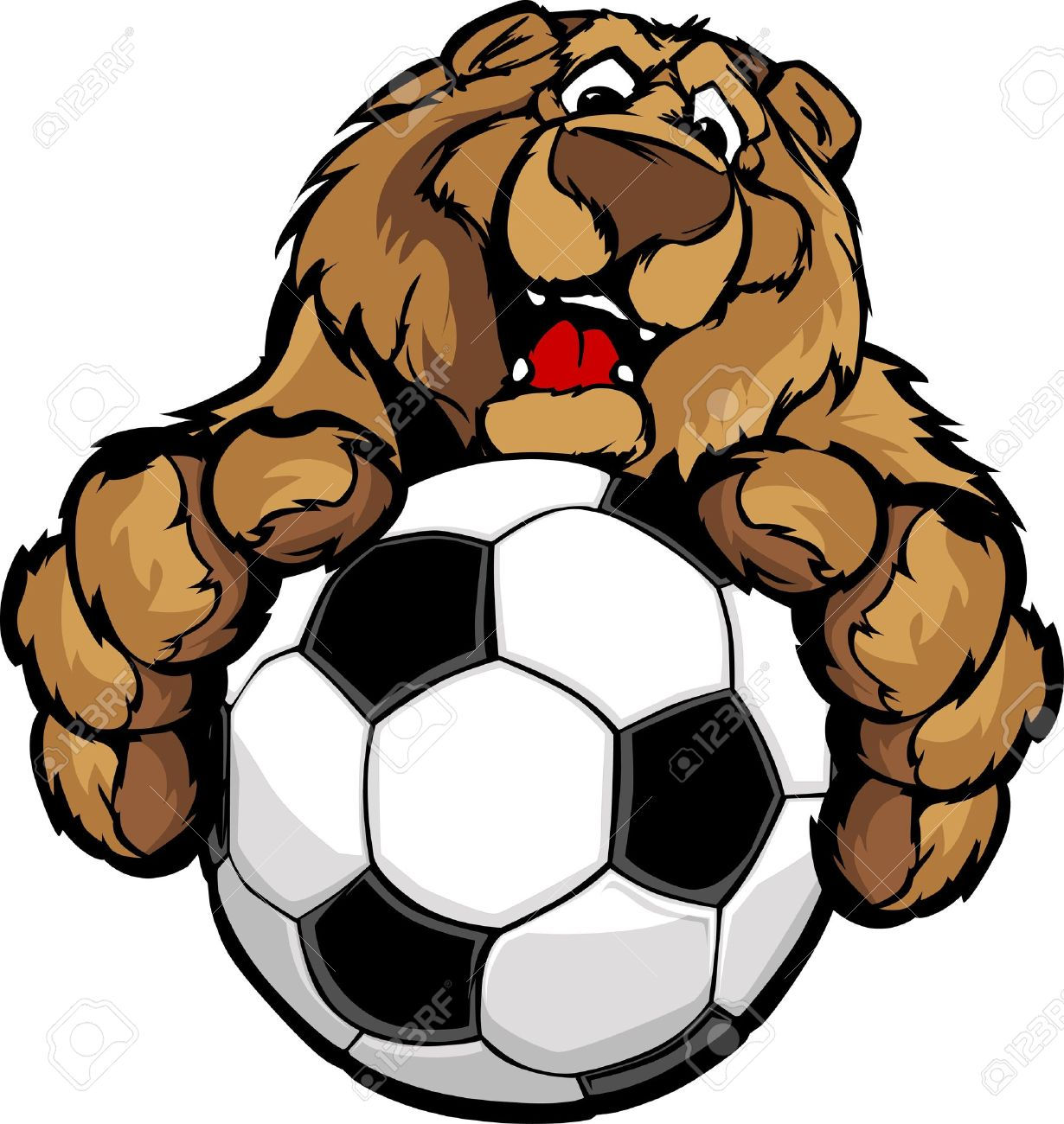hight resolution of graphic mascot image of a friendly bear with paws on a soccer ball stock vector
