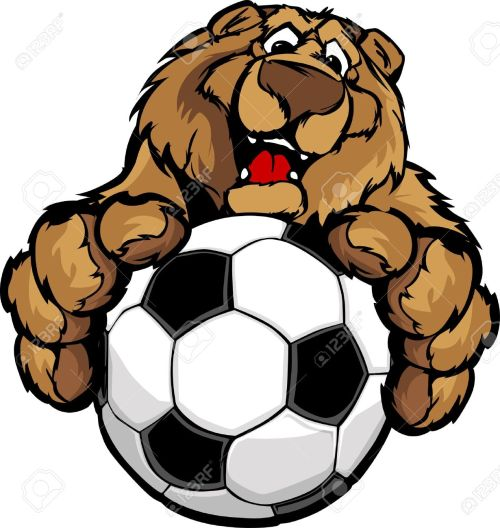 small resolution of graphic mascot image of a friendly bear with paws on a soccer ball stock vector