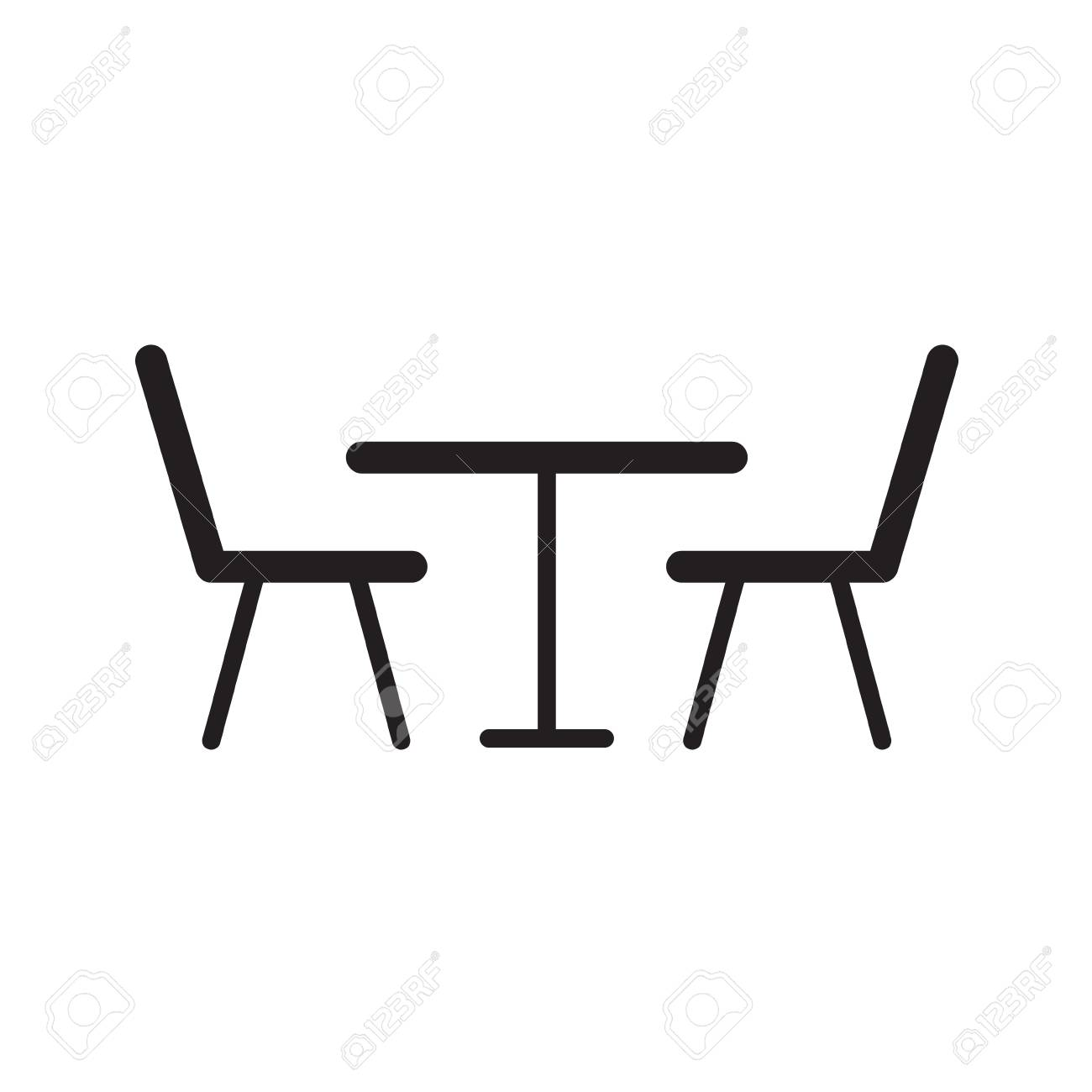 Table With Chairs Table And Chairs Icon Vector Illustration