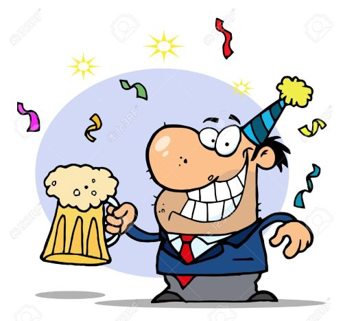small resolution of drunk new years man holding beer stock vector 6792819