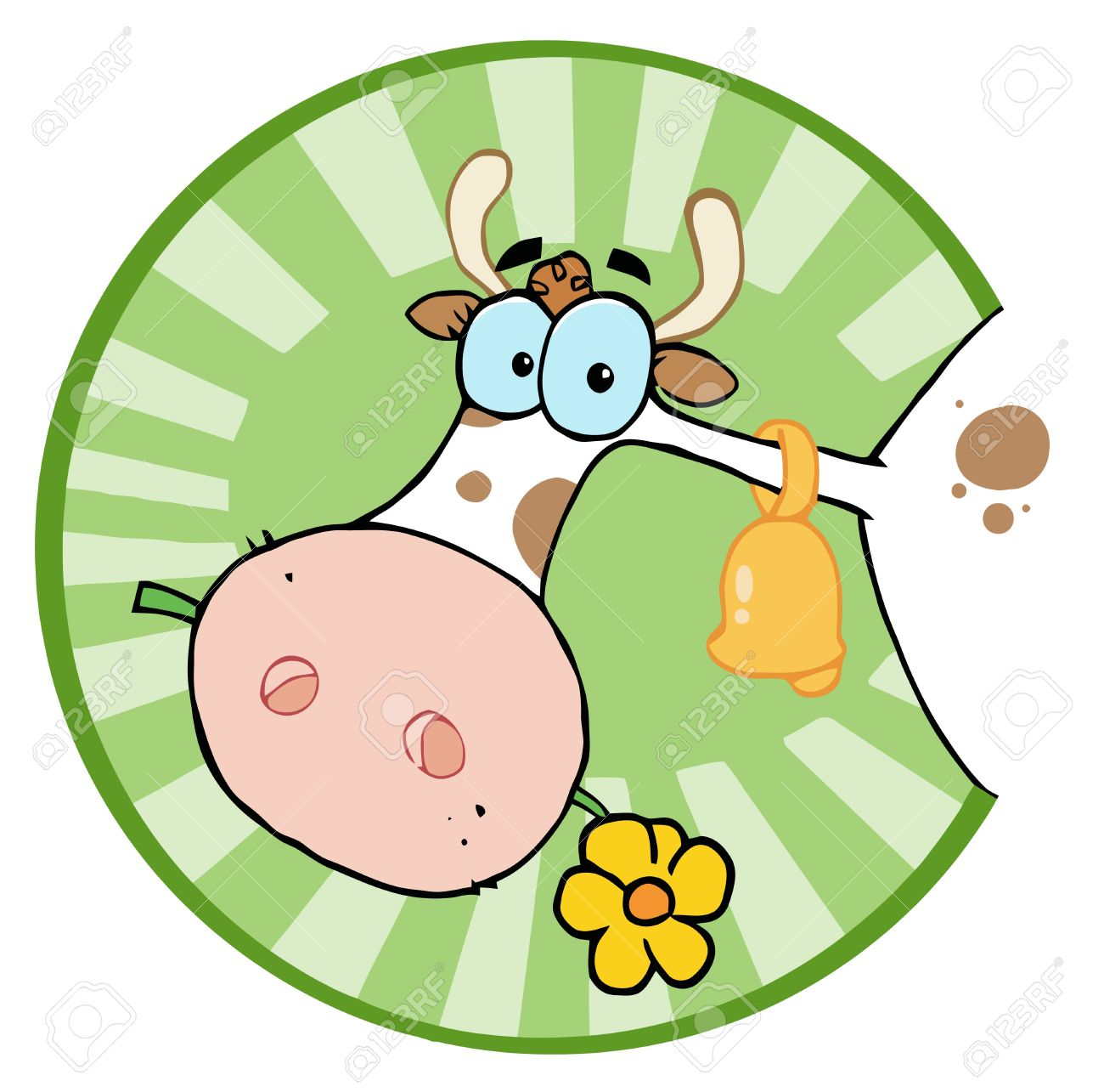 hight resolution of clipart illustration farm cow head chewing on a flower stock vector 6792592