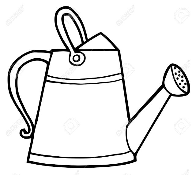 Coloring Page Outline Of A Gardening Watering Can Royalty Free