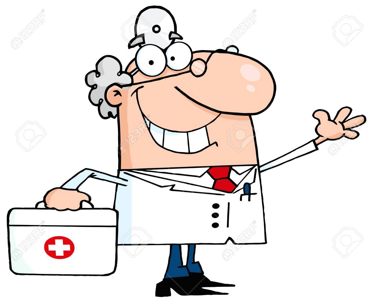 hight resolution of smiling and waving male doctor with a first aid kit stock vector 12353051