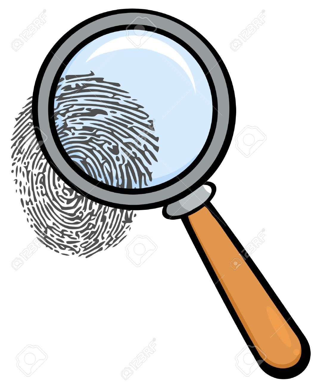 hight resolution of magnifying glass with fingerprint stock vector 12493543