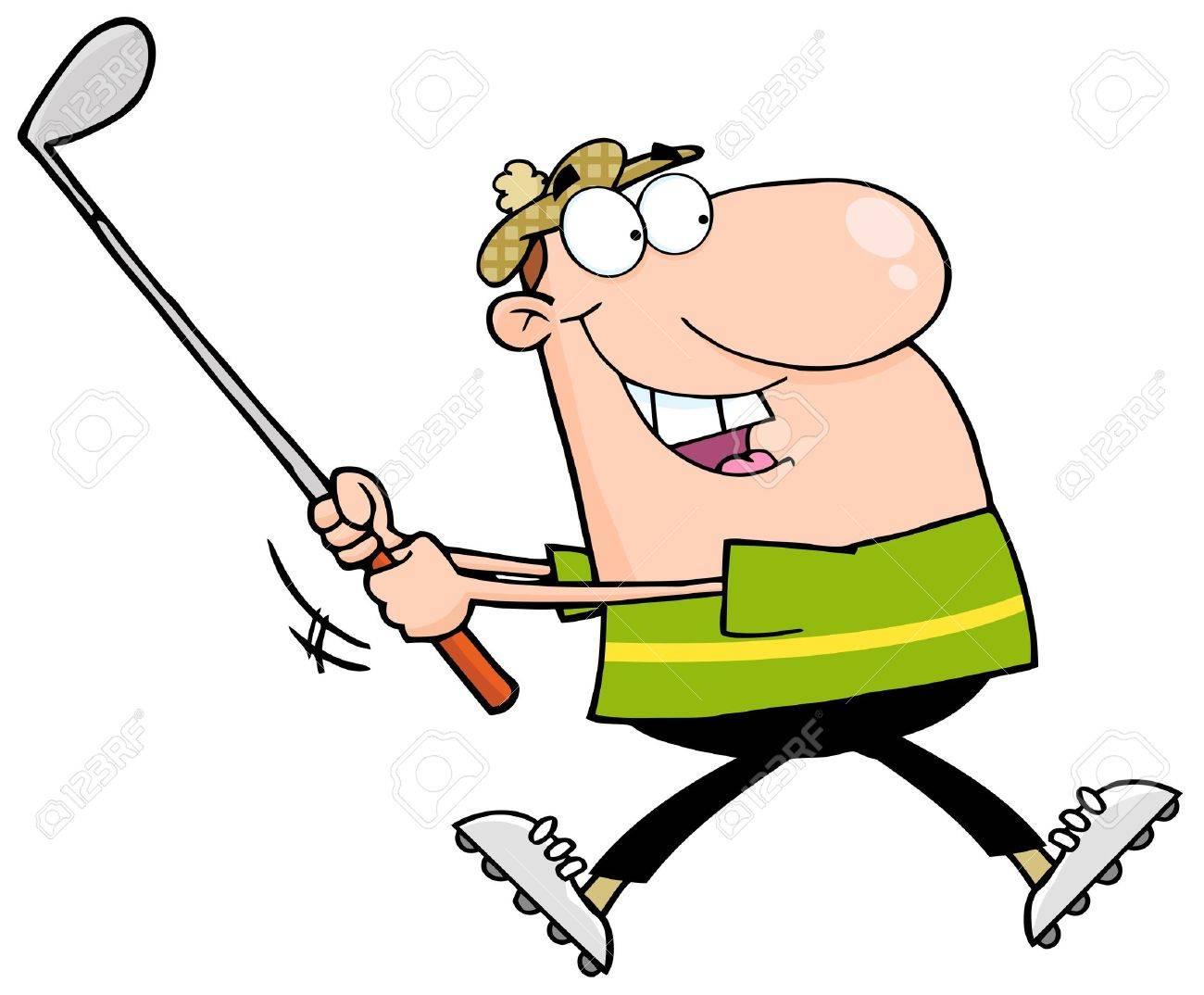 hight resolution of happy golfer running stock vector 12775313