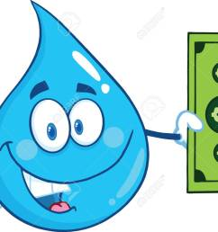 vector water drop character showing a dollar bill illustration isolated on white background [ 1300 x 1016 Pixel ]