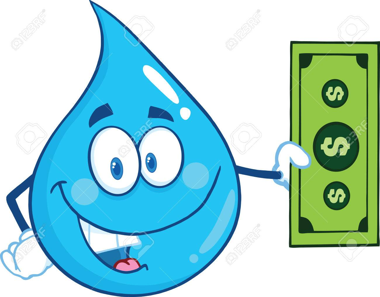 hight resolution of vector water drop character showing a dollar bill illustration isolated on white background