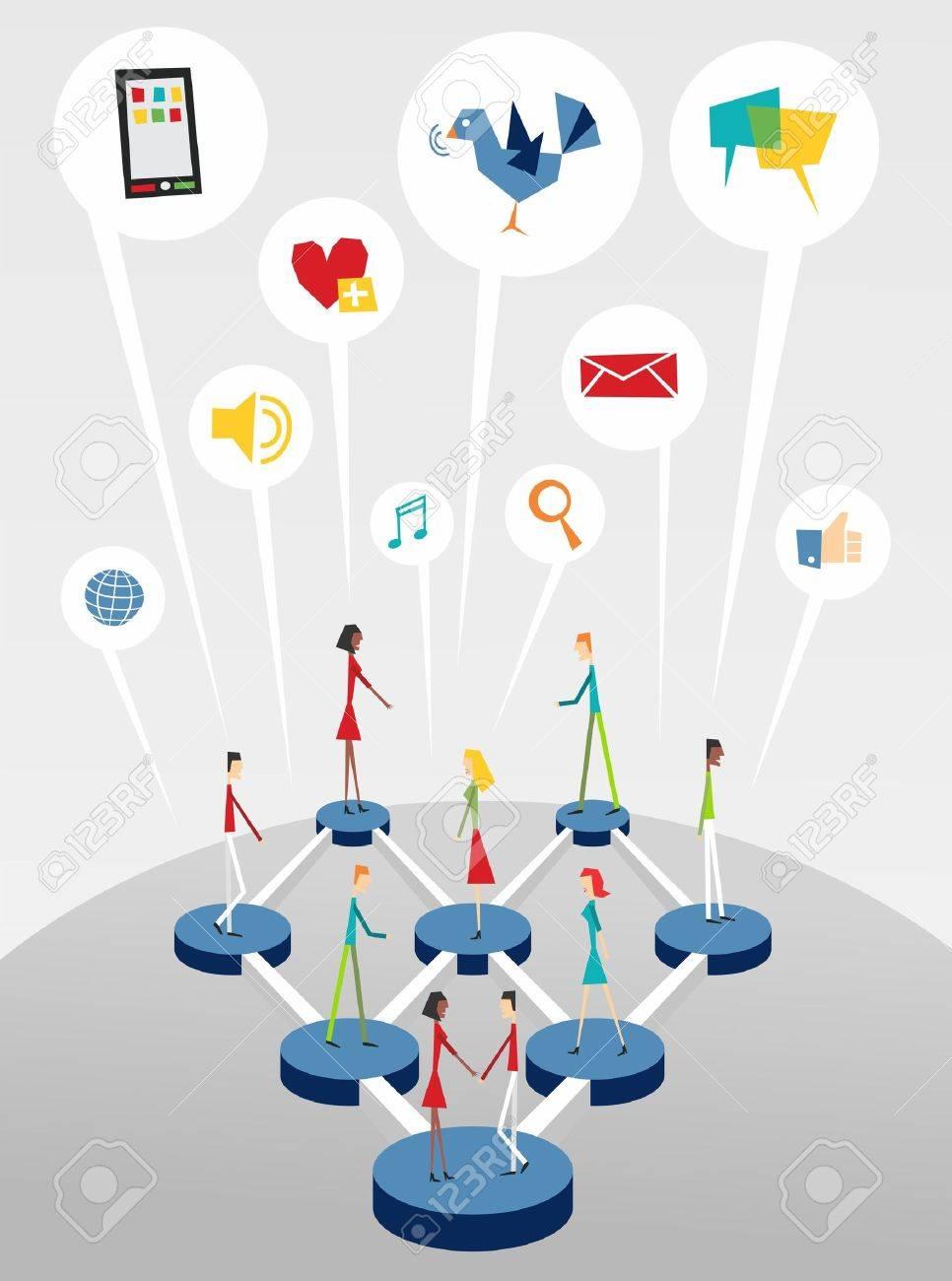 Global Social Network Relationship Diagram Over Light Grey