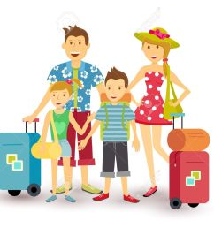 happy family of parents and children travel summer vacation with suitcase people group illustration in [ 1300 x 1028 Pixel ]