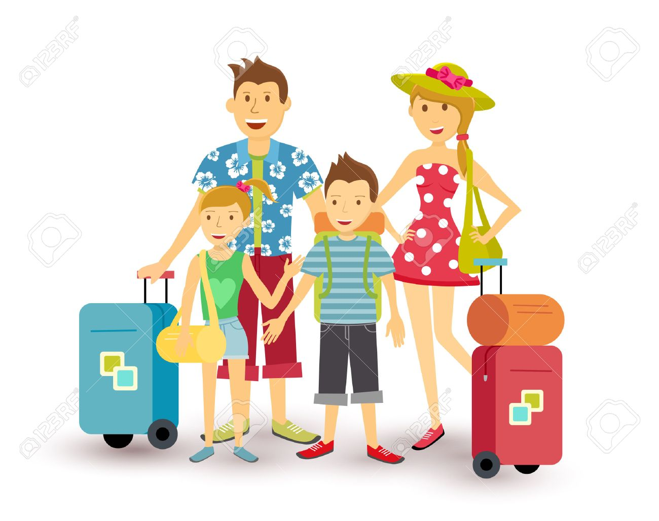 hight resolution of happy family of parents and children travel summer vacation with suitcase people group illustration in