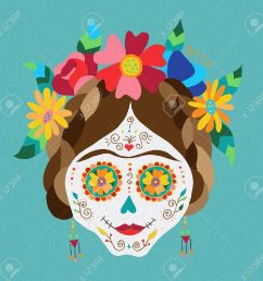 traditional mexican catrina skull with paint decoration and colorful spring time flower arrangement on hair  [ 1300 x 1262 Pixel ]