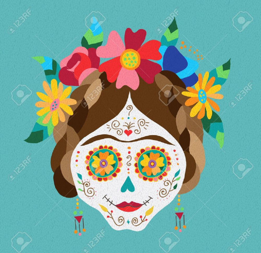 medium resolution of traditional mexican catrina skull with paint decoration and colorful spring time flower arrangement on hair